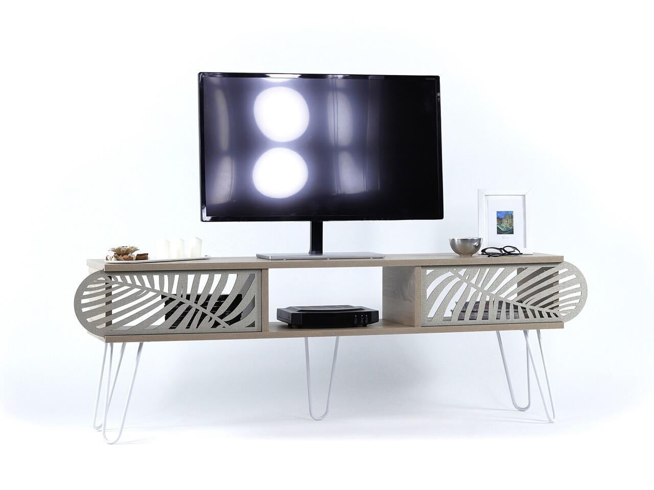 Comoda TV Mingitav Illia Maxi No.5, 151 x 30 x 48 cm, PAL/metal, oak/alb