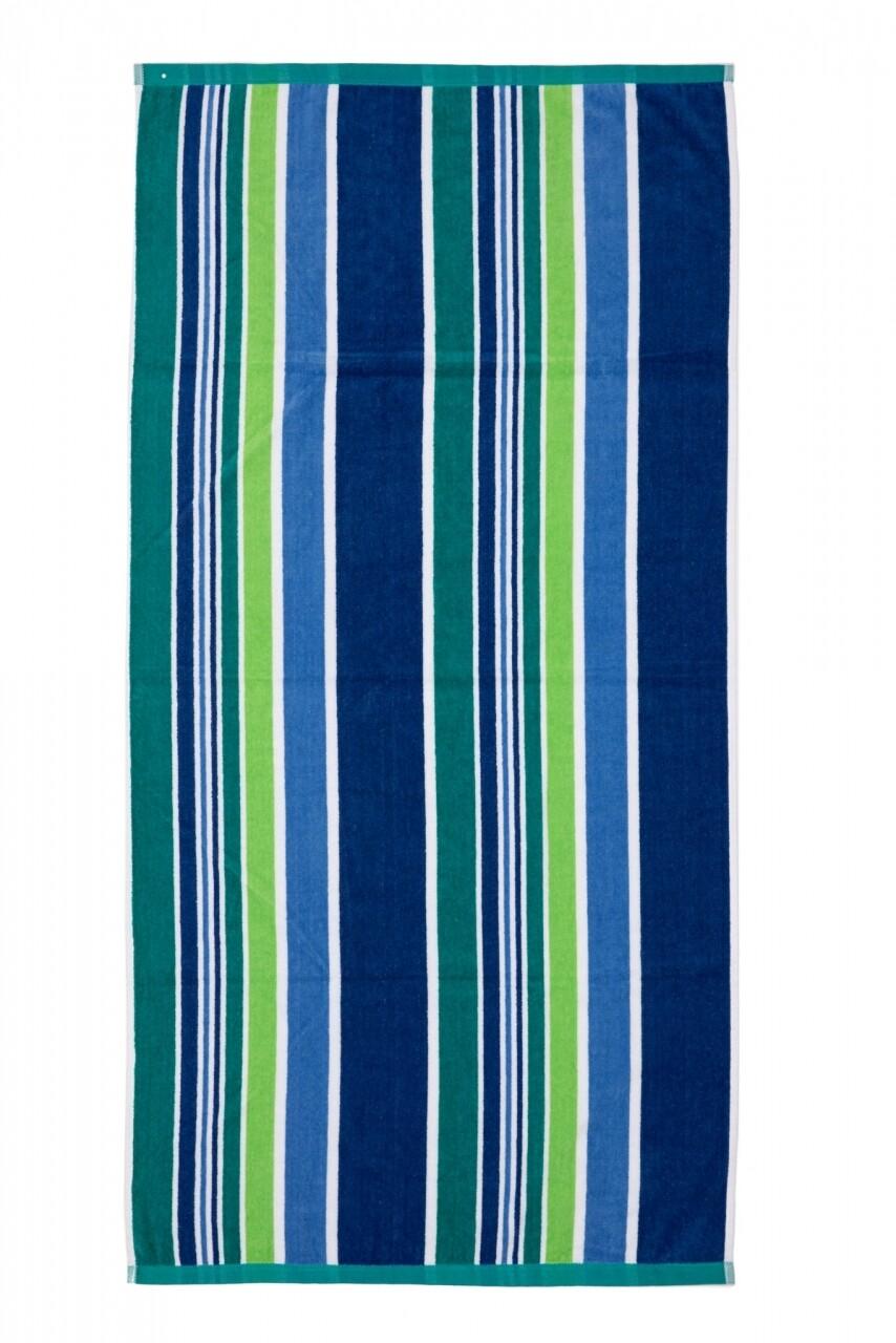 Prosop de plaja Stripe Turquoise, Heinner, 70 x 140 cm, 80% bumbac/ 20% poliester, multicolor