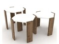 Set 3 masute Rafevi Hansel Nesting, PAL, walnut/alb