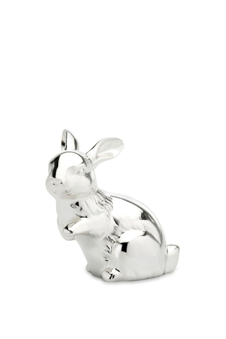 Decoratiune Rabbit, Hermann Bauer, H9 cm, argintiu
