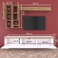 Comoda TV cu raft de perete si 2 cabinete M35 - 420, Wren, 180 x 35 x 48.6 cm/133 cm, white/walnut