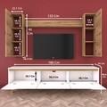 Comoda TV cu raft de perete si 2 cabinete M2 - 380, Wren, 180 x 35 x 48.6 cm/133 cm, white/walnut