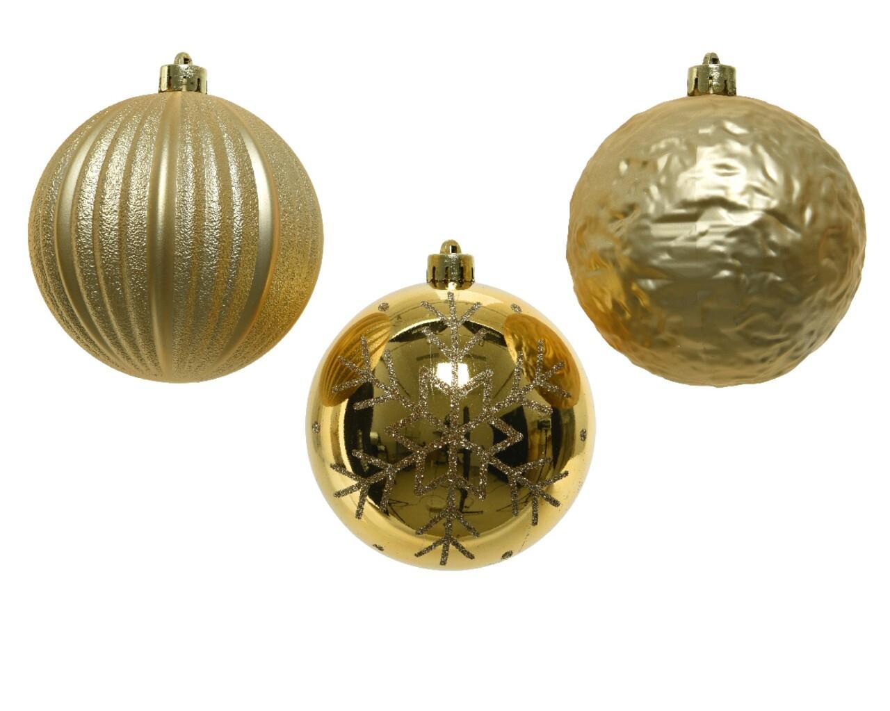 Set 3 globuri, Decoris, Ø 10 cm, Plastic, Auriu