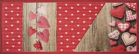 Covor pentru bucatarie, Olivio Tappeti, New Smile Modern, Hearts, 57 x 190 cm, nylon, multicolor