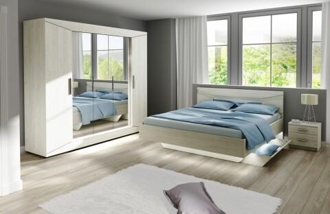 Mobilier dormitor Crystal, Bedora, 1 dulap, 1 pat, 2 x noptiera