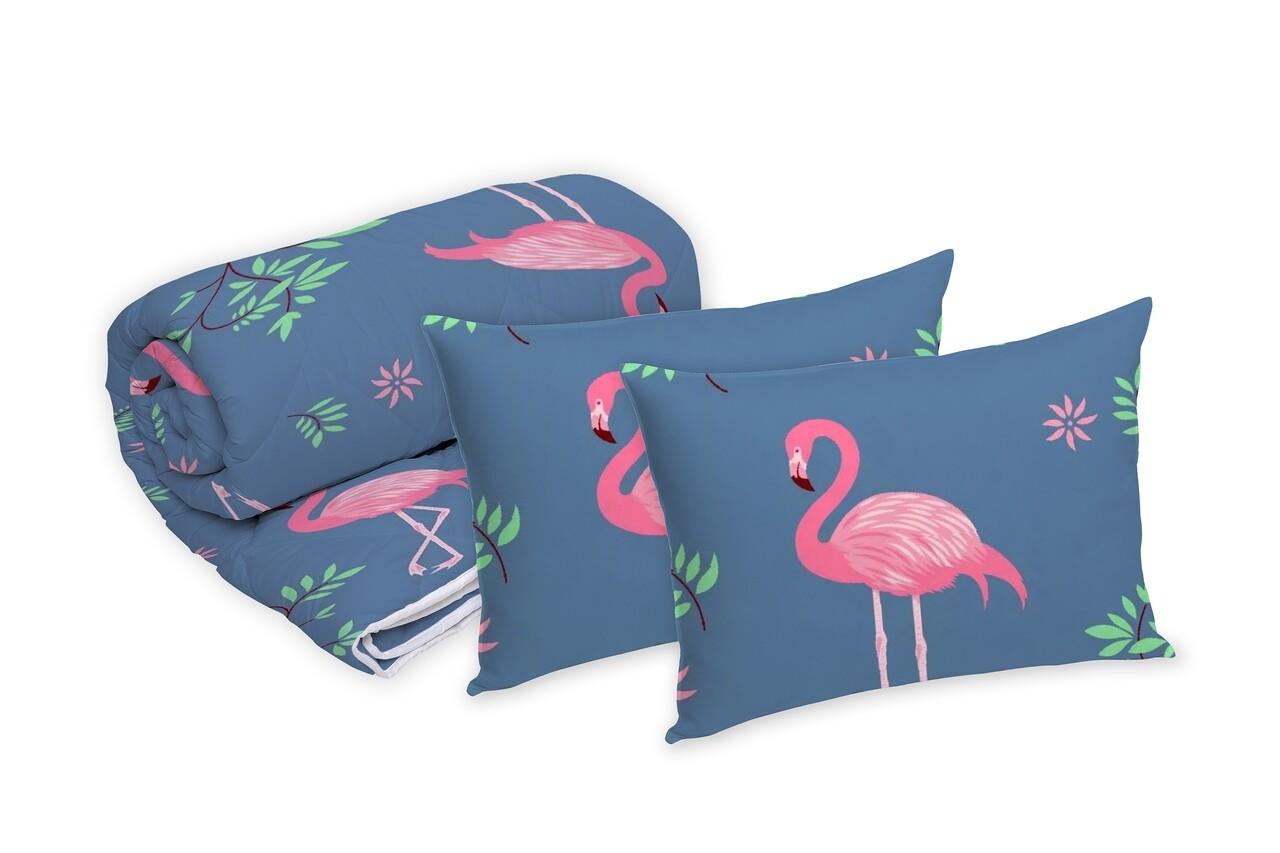 Set Alcam 2 perne microfibra 50x70 cm si pilota matlasata 220x200 cm, Pink Flamingo