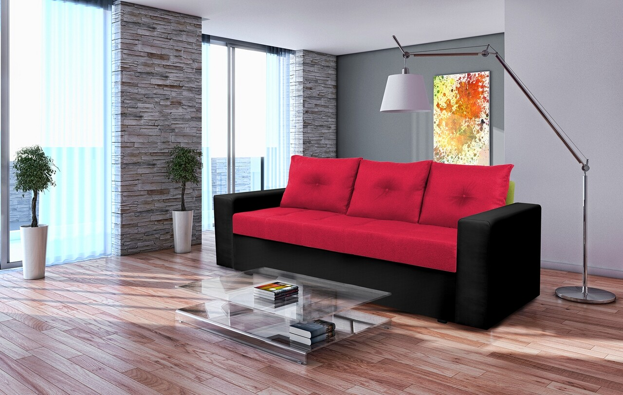 Canapea extensibila, Toledo, 226x90x86 cm, lada de depozitare, Rosu/Negru