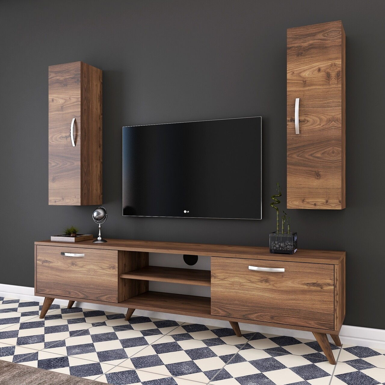 Comoda TV cu 2 cabinete M17 - 264, Wren, 180 x 35 x 48.6 cm/90 cm, walnut