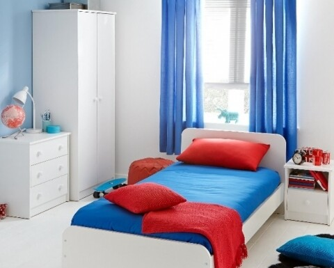 Mobilier Dormitor Luka Alb, Bedora, 1 pat, 1 dulap,1 comoda, 2 noptiere