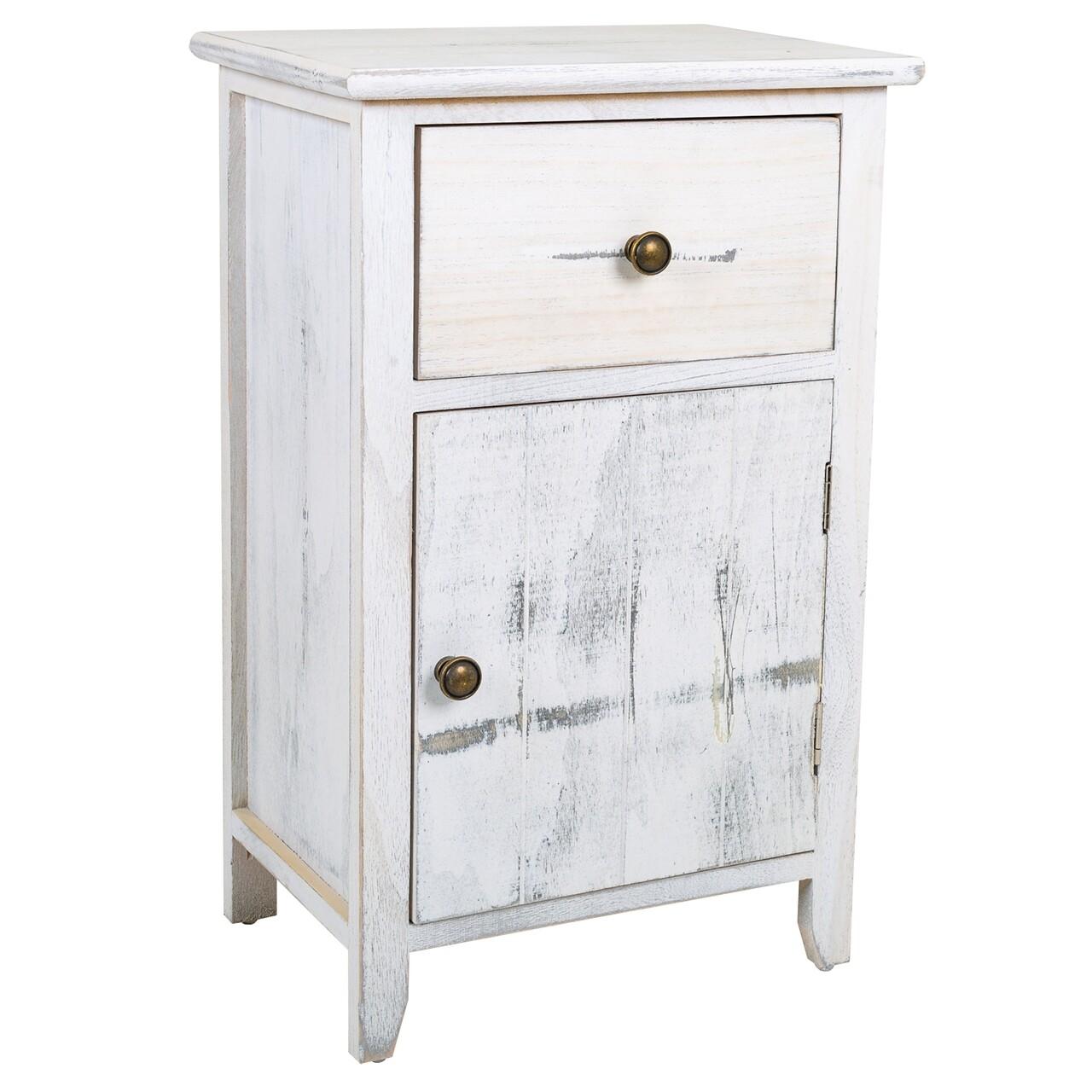 Comoda cu 1 sertar si 1 usa Creaciones Meng, 35x25x55 cm, lemn de paulownia, antique white