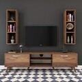 Comoda TV cu 2 rafturi de perete M6 - 242, Wren, 180 x 35 x 48.6 cm/90 cm, walnut