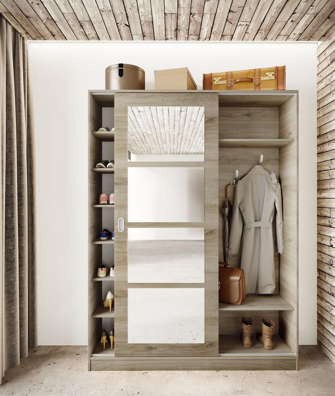 Dulap cu pantofar, cuier si oglinda, Bedora, City 4054, 150 x 38 x 201 cm, PAL, sonoma