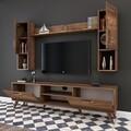 Comoda TV cu raft de perete si 2 cabinete M27 - 284, Wren, 180 x 35 x 48.6 cm/133 cm, walnut