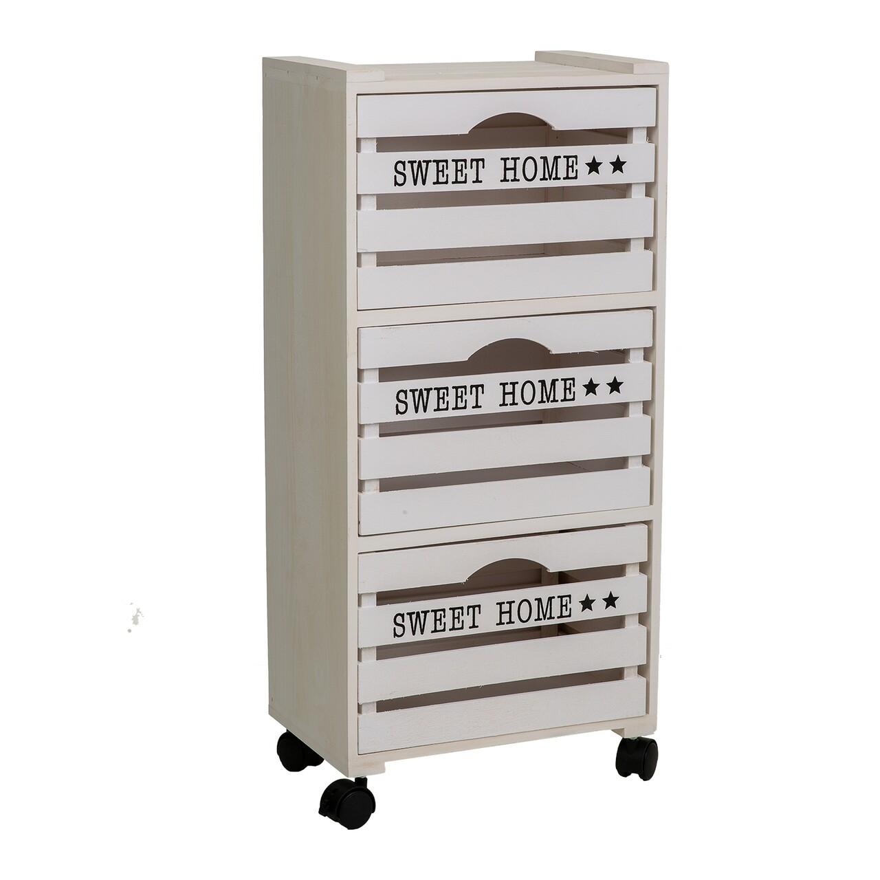 Comoda cu 4 sertare si roti, Sweet Home, Creaciones Meng, 23x35x75.5 cm, lemn de paulownia, alb