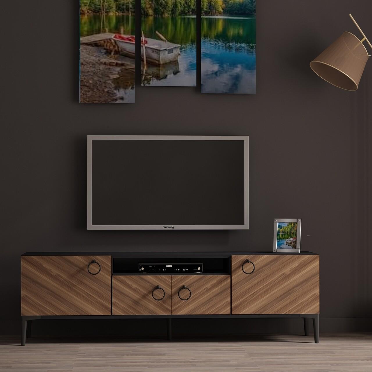 Comoda TV ELEGANTE, Gauge Concept, 150x31x45 cm, PAL, aluna/negru