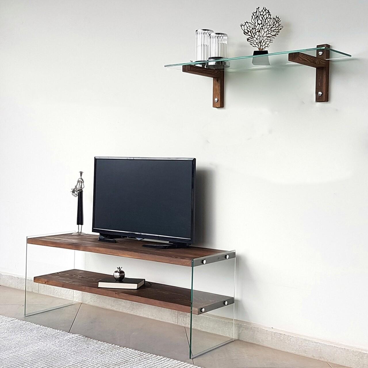 Comoda TV cu raft de perete Neostill TV104, 120 x 45 cm/85 x 25 cm, walnut
