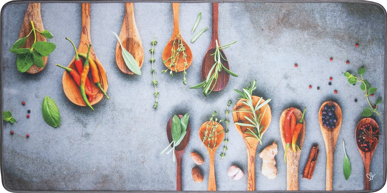 Covor pentru bucatarie, Olivio Tappeti, Miami 3, Grey Spice, 50 x 100 cm, poliester, multicolor