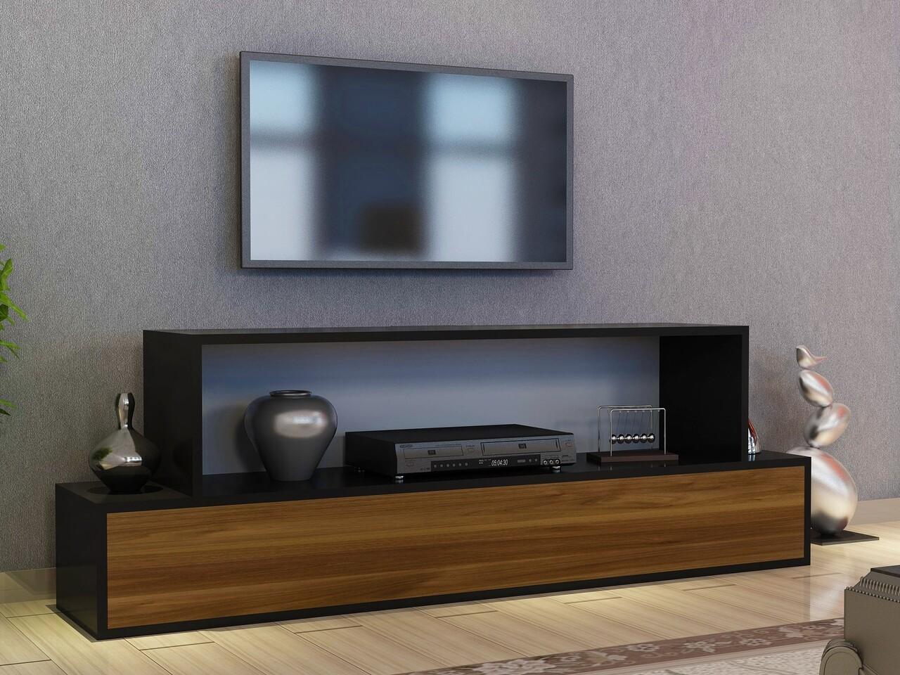 Comoda TV AGCA, Gauge Concept, 153.6x30x51.4 cm, PAL, aluna/negru