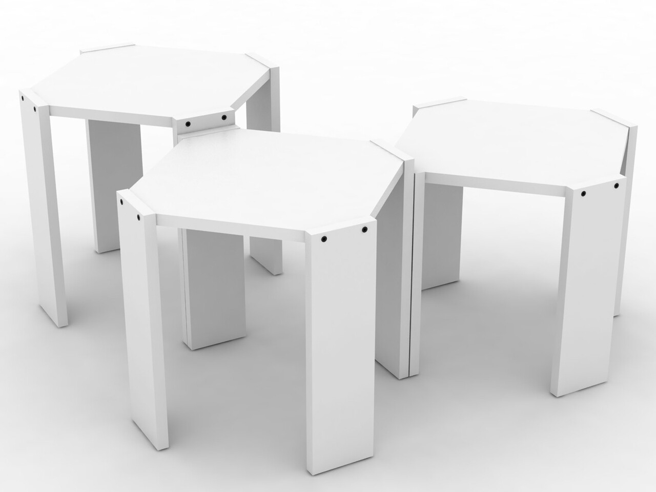 Set 3 masute Rafevi Hansel Nesting, 44.5 x 44.5 x 41 cm, PAL, alb