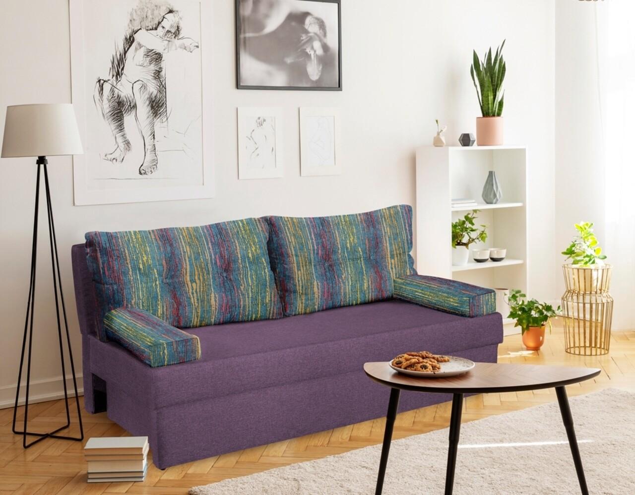 Canapea extensibila Alfi 192x80x77 cm cu lada de depozitare, Purple/Stripes
