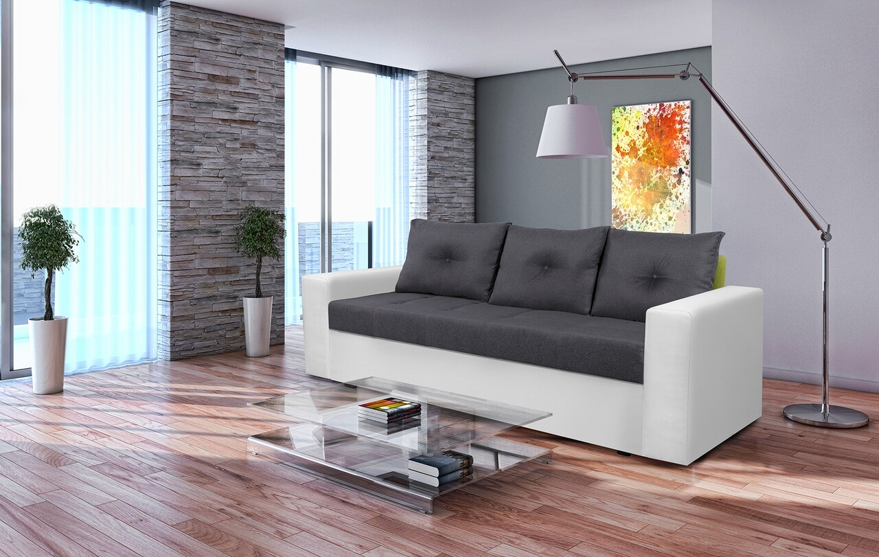 Canapea extensibila, Toledo, 226x90x86 cm, lada de depozitare, Alb/Antracit