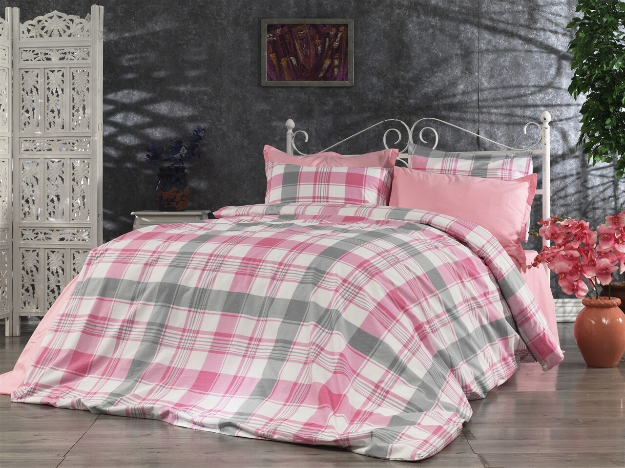 Lenjerie de pat pentru doua persoane Melange Rose Bedora, Cotton Rich