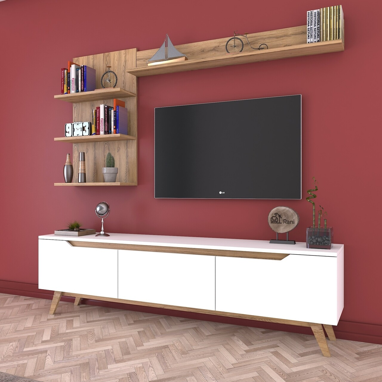 Comoda TV cu 3 rafturi de perete M41 - 423, Wren, 180 x 35 x 48.6 cm/90 cm/133 cm, white/walnut