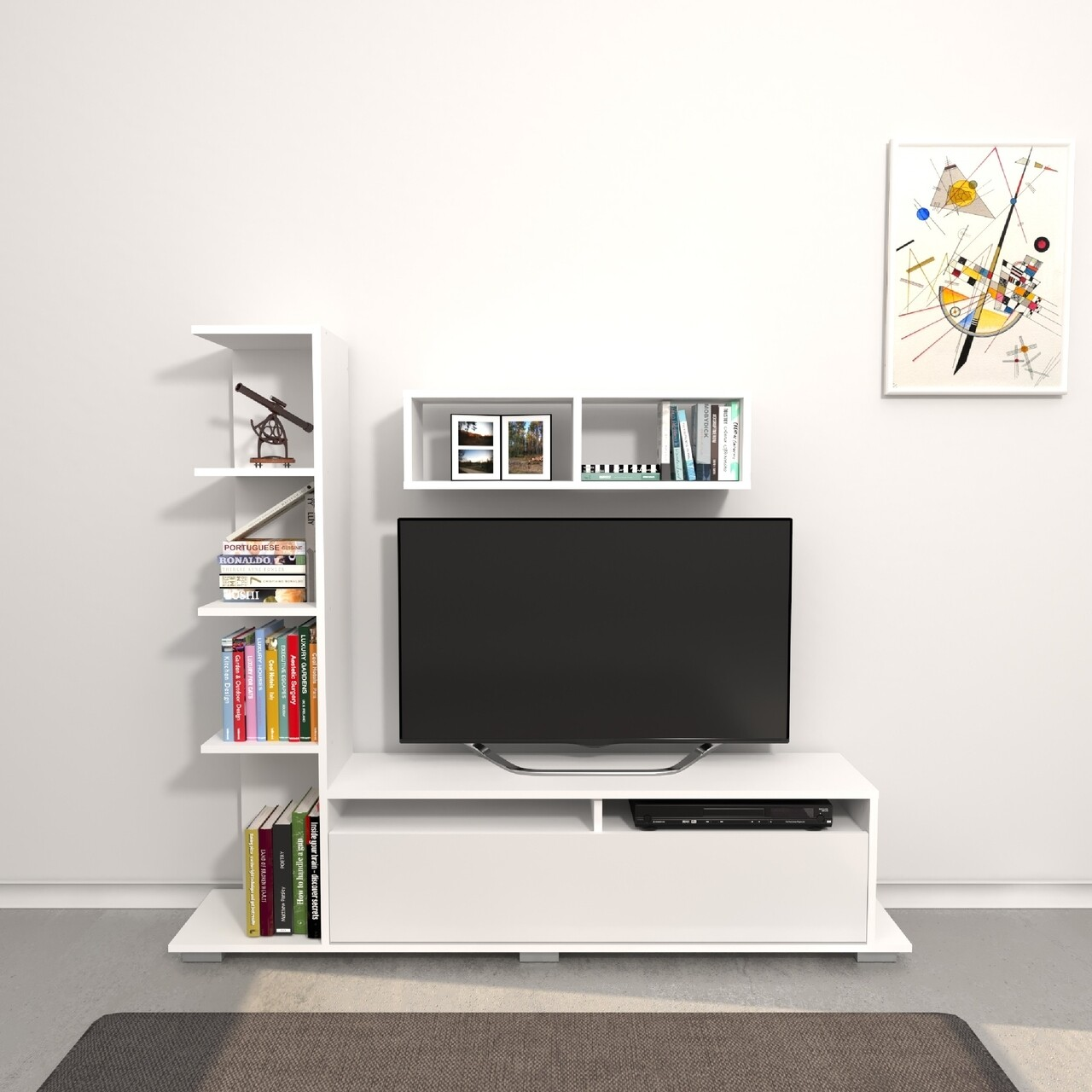 Comoda TV cu raft de perete Argo, Homemania, 150 x 28.5 x 125 cm, alb