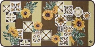 Covor pentru bucatarie, Olivio Tappeti, Carpet Queen 2, Brown Sunflower, 50 x 100 cm, 80% bumbac, 20% poliester, multicolor