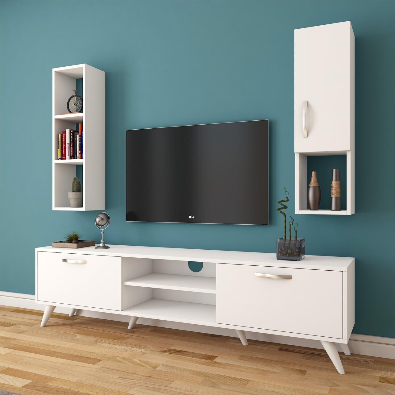 Comoda TV cu raft de perete si cabinet M11 - 251, Wren, 180 x 35 x 48.6 cm/90 cm, white