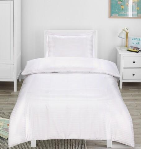 Lenjerie de pat, 1 persoana, Hotel Line Bedora, 250 TC, amestec bumbac, alb