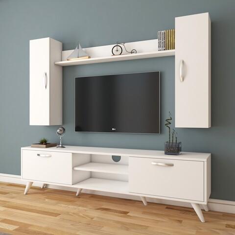 Comoda TV cu raft de perete si 2 cabinete M2 - 230, Wren, 180 x 35 x 48.6 cm/133 cm, white