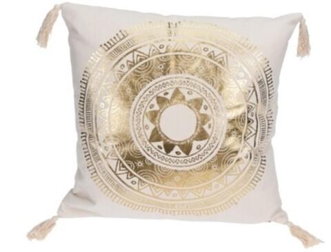 Perna decorativa Mandala Circle, 45x45 cm, bumbac, alb/auriu