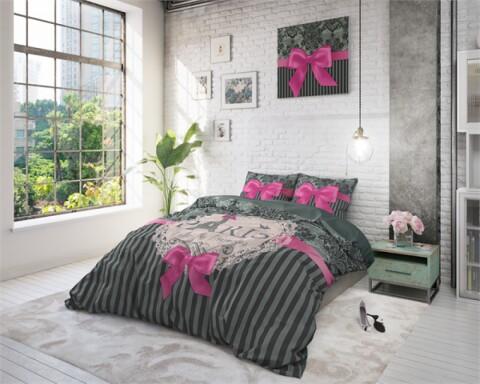 Lenjerie de pat pentru doua persoane I love Paris, Royal Textile, 100% bumbac