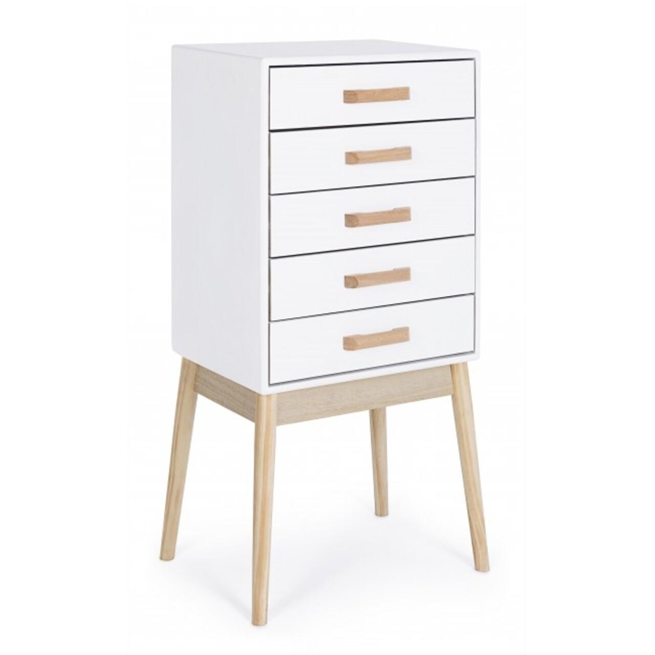 Comoda cu 5 sertare, Ordinary, Bizzotto, 43x30x88 cm, lemn de pin