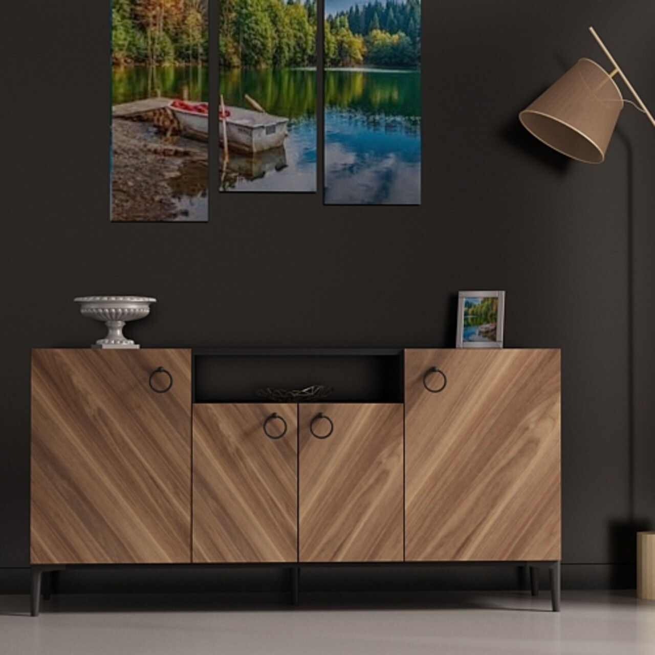 Comoda ELEGANTE-C, Gauge Concept, 150x38x75 cm, PAL, antracit/aluna
