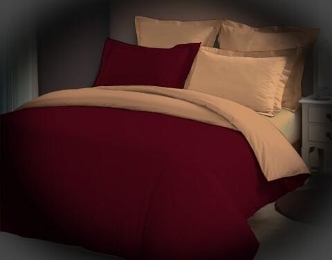 Lenjerie de pat dubla Red Salomon, Bedora, 4 piese, 180 x 200 cm, 100% bumbac, rosu/bej
