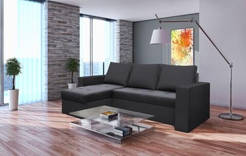 Coltar extensibil Toledo, 226x145x79 cm, 2 lazi depozitare, Reversibil, Gri inchis/Antracit