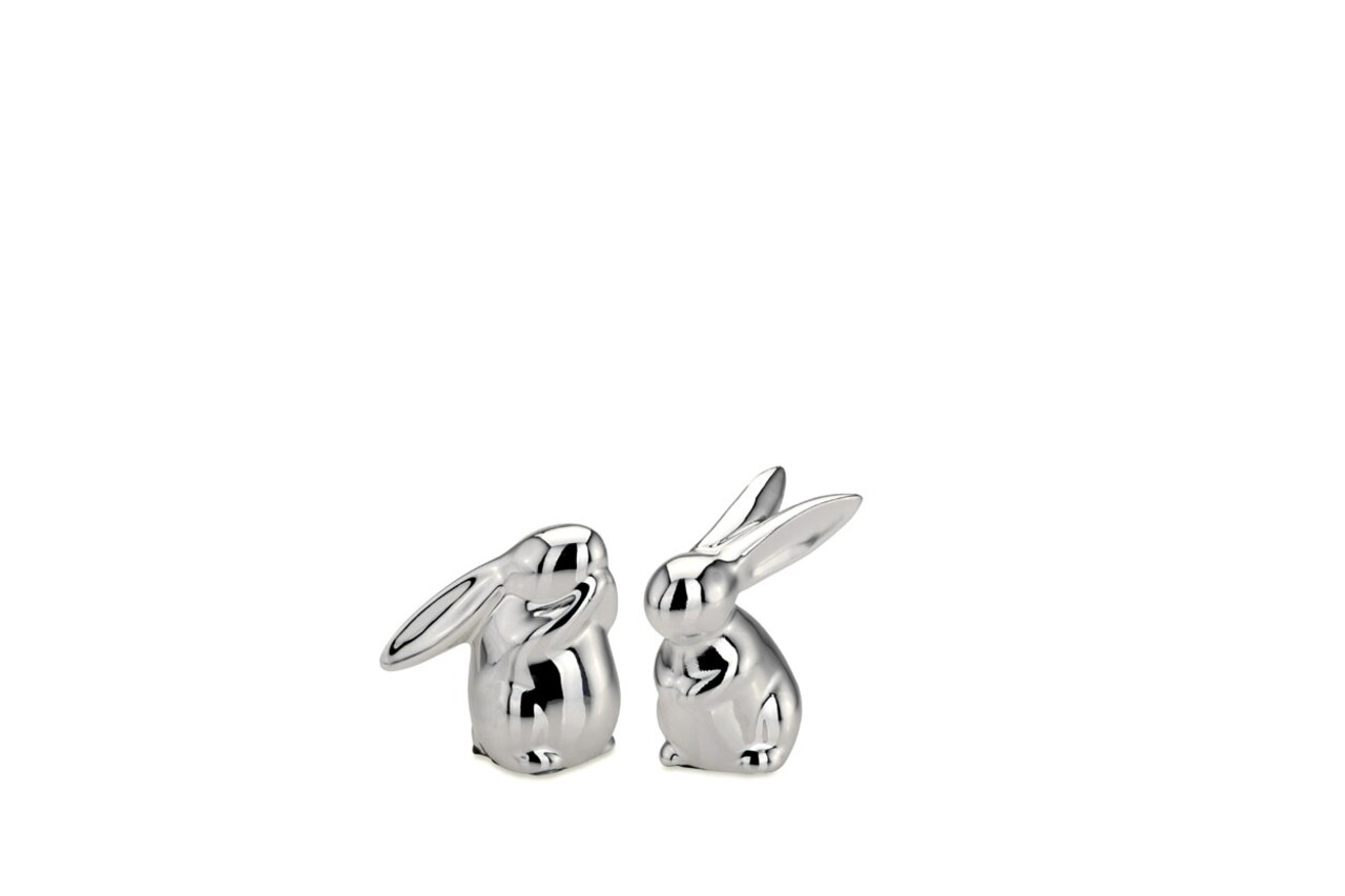 Set 2 decoratiuni Small Rabbits, Hermann Bauer, 4x4.5x6.5 cm, portelan, argintiu