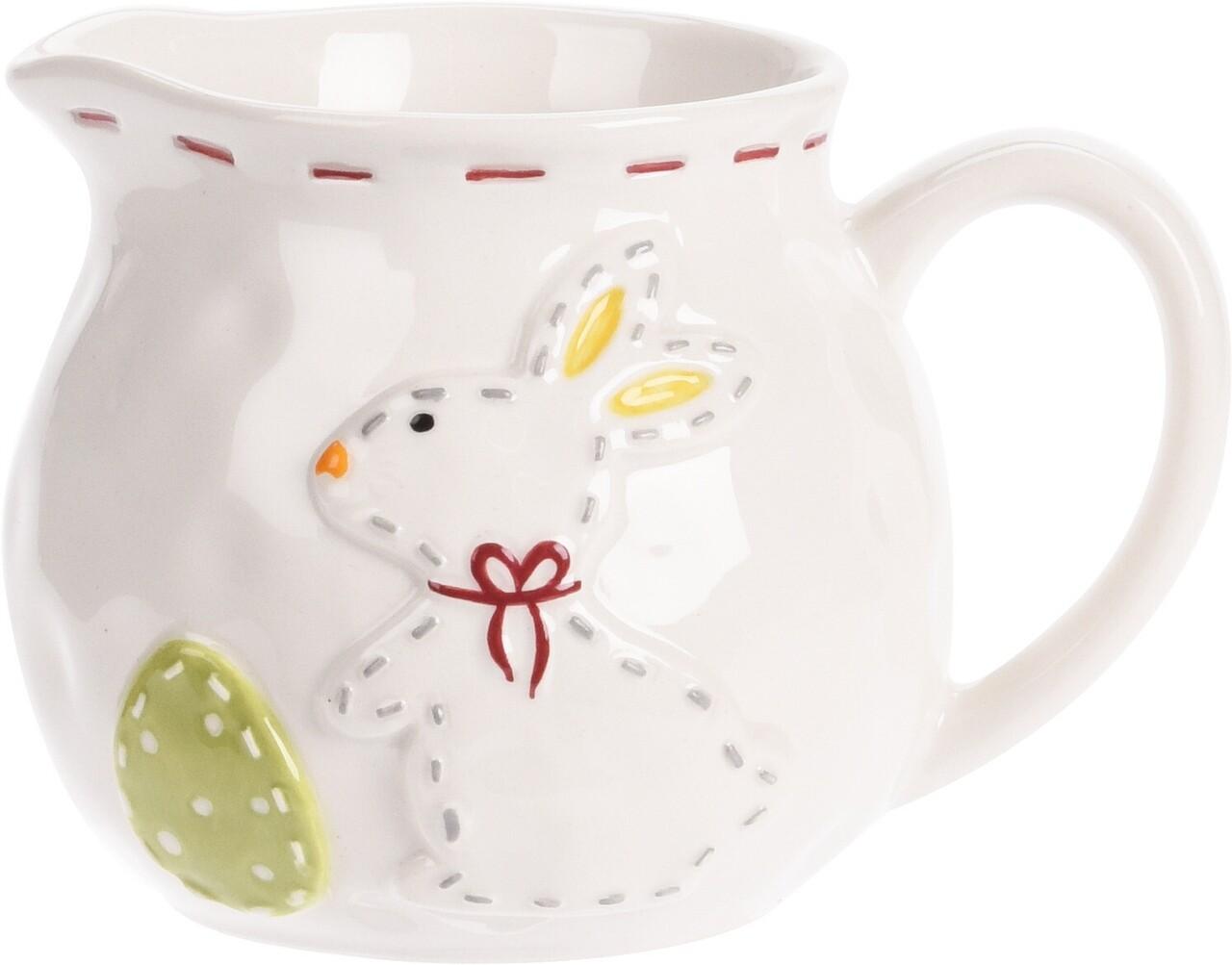 Cana pentru lapte Rabbit Dotted Line, 12.5x9x8.5 cm, dolomita, multicolor