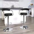Se 2 scaune bar, Bedora Round, piele ecologica, negru