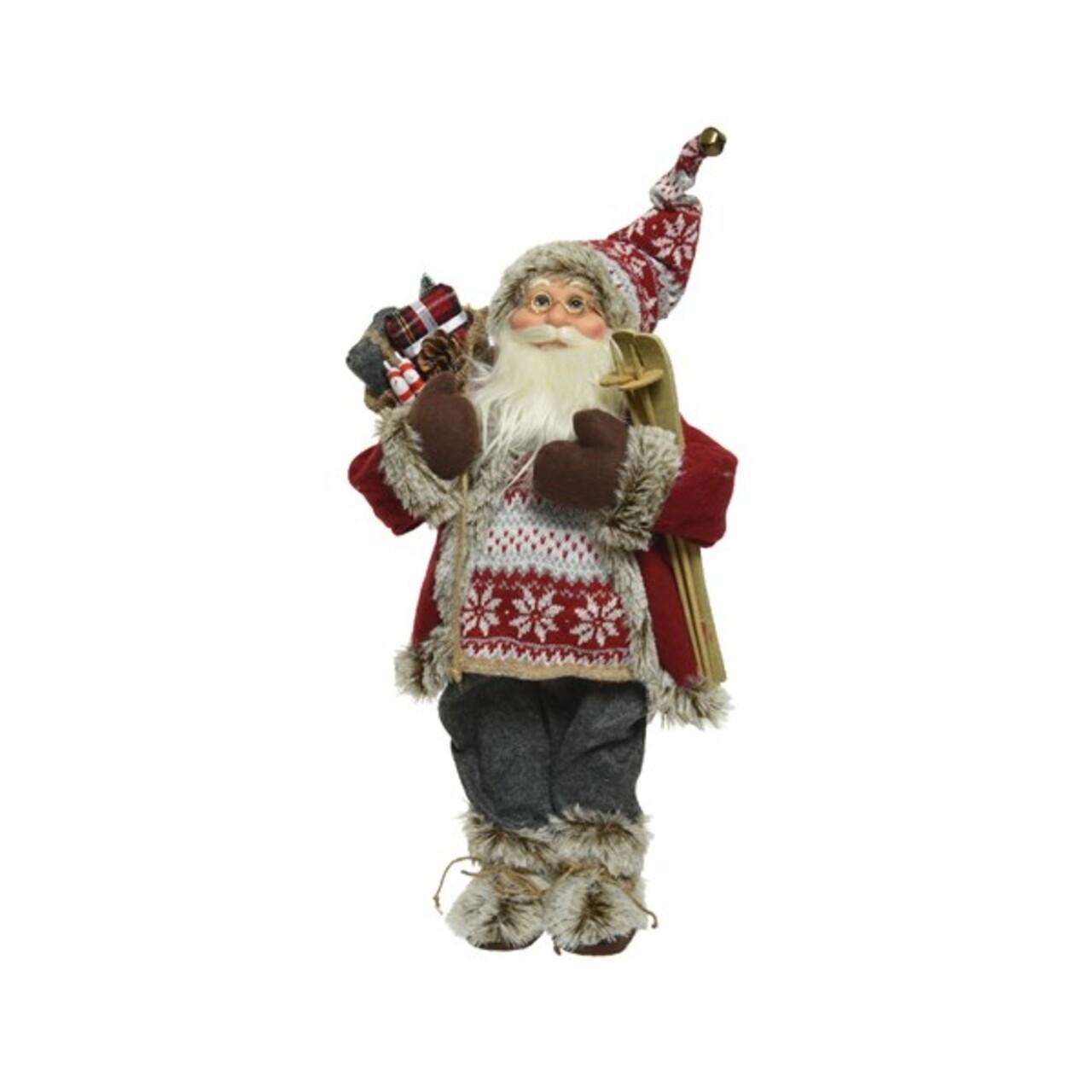 Figurina Santa ski, Decoris, H-30 cm, poliester, multicolor