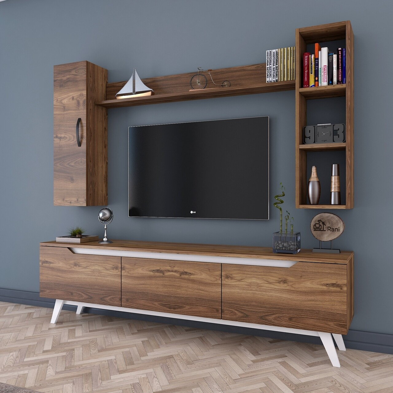 Comoda TV cu 2 rafturi de perete si cabinet M13 - 837, Wren, 180 x 35 x 48.6 cm/90 cm/133 cm, walnut/white