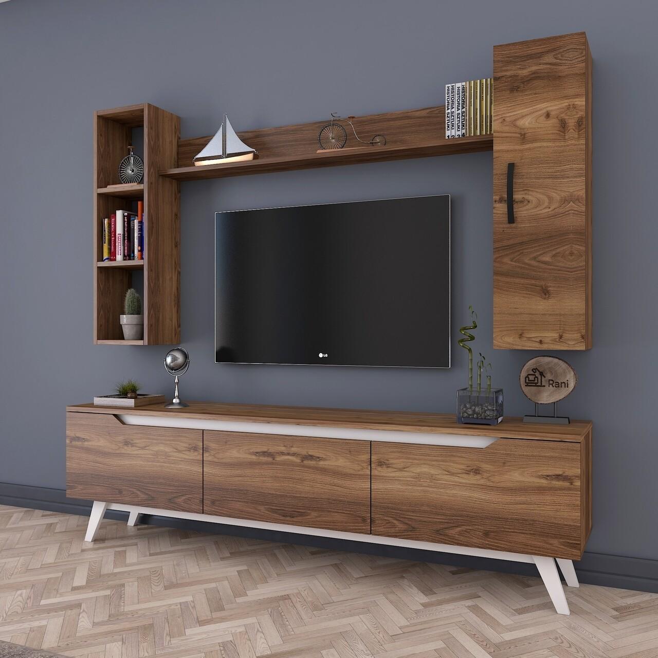 Comoda TV cu 2 rafturi de perete si cabinet M9 - 829, Wren, 180 x 35 x 48.6 cm/90 cm/133 cm, walnut/white