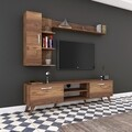 Comoda TV cu 2 rafturi de perete si cabinet M36 - 300, Wren, 180 x 35 x 48.6 cm/90 cm/133 cm, walnut