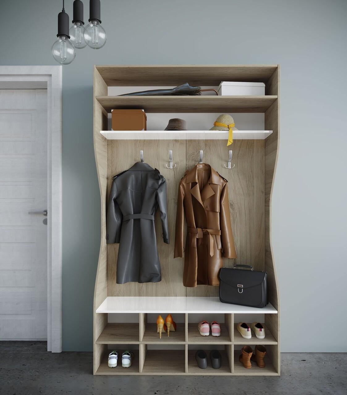 Cuier cu 2 rafturi si pantofar, Bedora, City 4056, 120 x 37 x 201 cm, PAL, stejar/alb