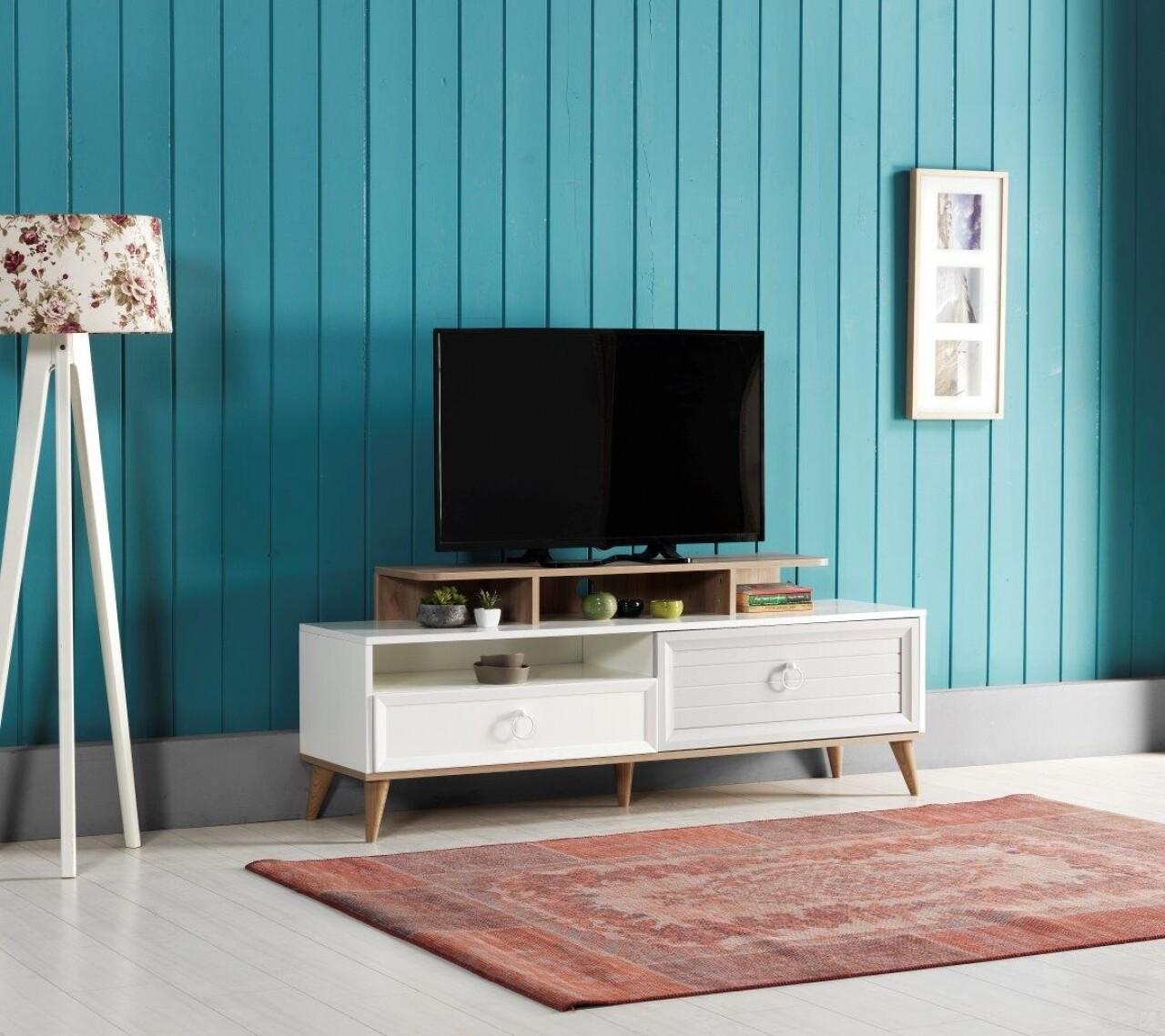 Consola TV Zeta cu 2 sertare, Heinner, 162x43x63 cm, lemn, alb