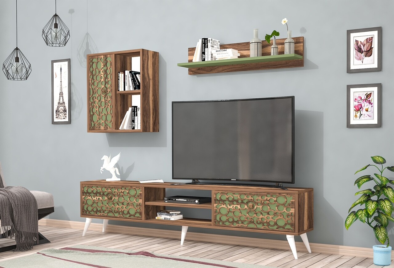 Mobilier living Raffline, 3 corpuri, 90x60x43.6 cm, PAL , verde/nuc