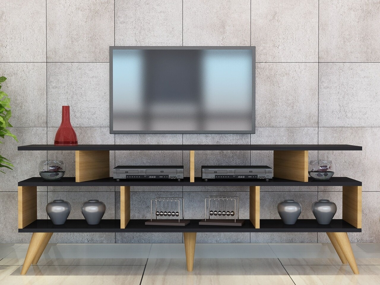 Comoda TV CIRAY-Teak Leg, Gauge Concept, 150x30x60 cm, PAL, tec