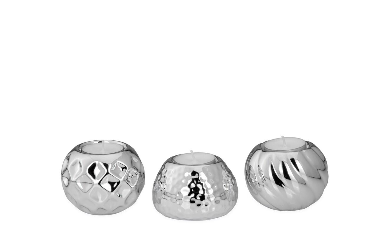 Set 3 suporturi pentru lumanari, Hermann Bauer, portelan, argintiu